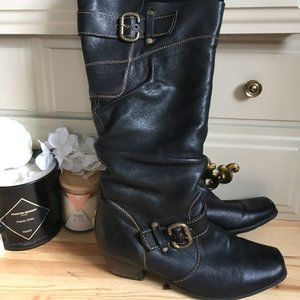 Leather Waterproof Knee High Slouch Boots Remonte